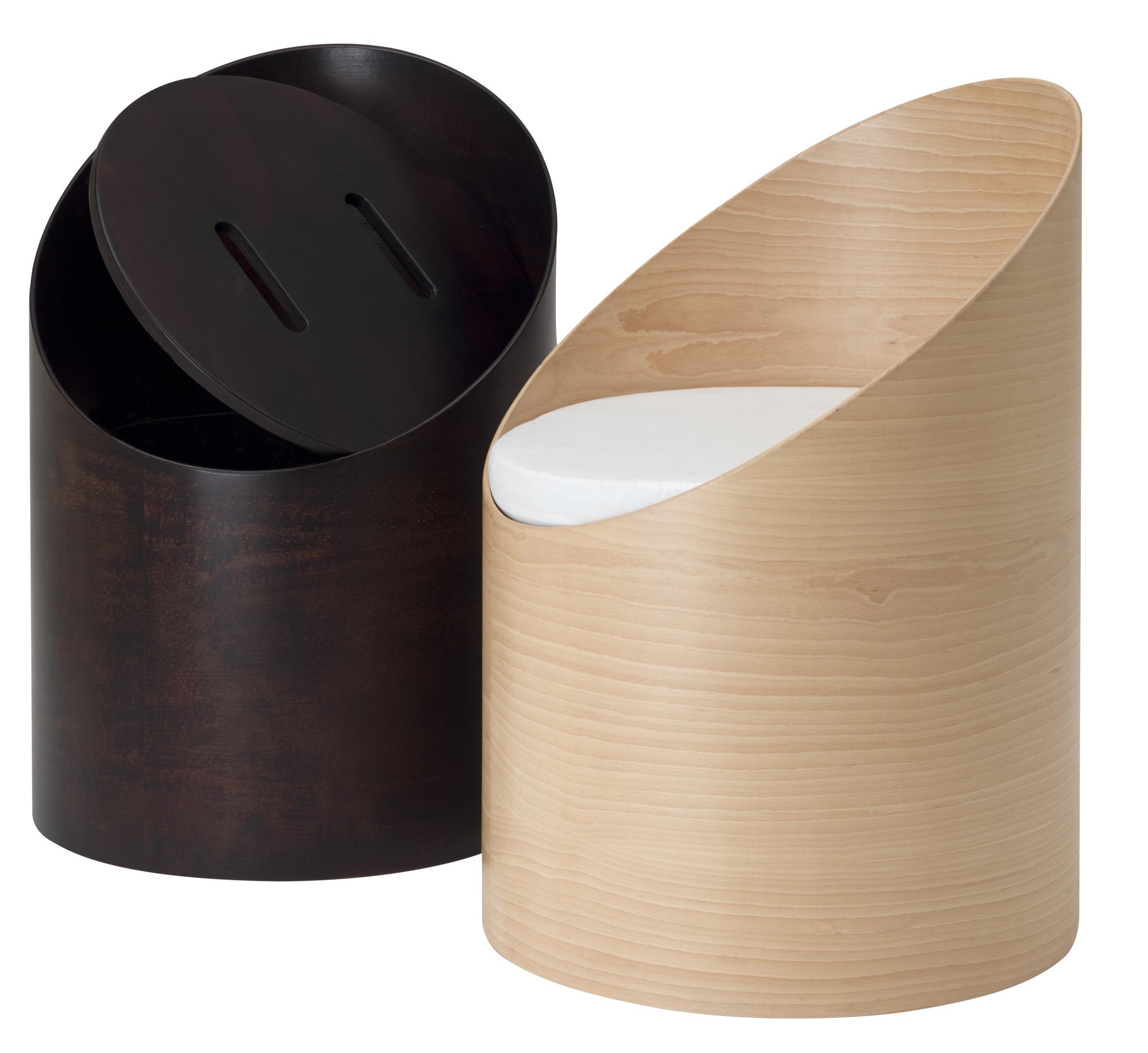 poltrona contenitore in legno rotonda